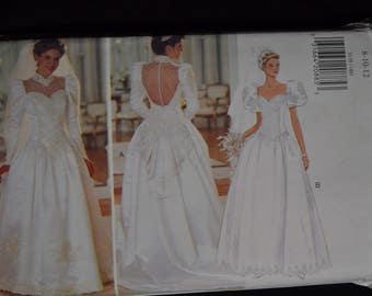 1990's Wedding Gown - Sizes 8-10-12 - UNCUT - Butterick 3839