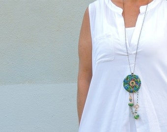 Hippie Necklace, Tribal Dreamcatcher, Fabric Jewelry, Fringe Necklace, Charm Necklace,Chain Necklace, Boho Chic Style Womens Birthday Gifts