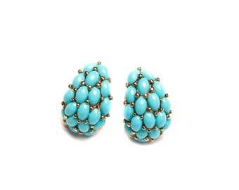KJL Kenneth J. Lane Faux Turquoise Cabochon Half Hoop Pierced Earrings