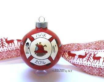 Fire Department Ornament MADE TO ORDER Firefighter Fire Emblem Glass Christmas Bauble Hand Painted Fire Wife Girlfriend Firefighter Wedding