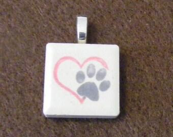 Paws Heart - Laser engraved Ceramic Tile Pendant