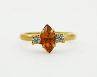 Orange and White Topaz Marquise Ring