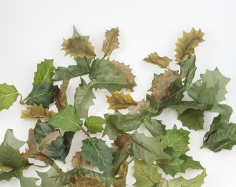 Holly Leaves - 75 Artificial Silk 3-Leaf Clusters  - Christmas Decor, Holiday Wedding, Wreath Supplies, Floral Crafts, Millinery