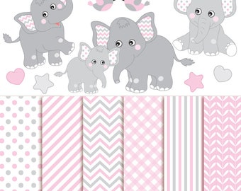 70% OFF SALE Baby Elephant Clipart & Digital Paper - Vector Baby Girl Elephant Clipart, Nursery Clip Art, Baby Elephant Digital Paper