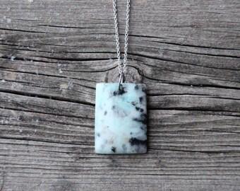 Pale Blue Stone Pendant on Chain - Kiwi Jasper Stone Pendant Necklace - Unique and Simple Blue Stone Pendant - Stone Pendant Gift for Her