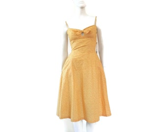 Pin up Sun Dress by Deweese Designs Yellow Polka Dotted Cotton w/Smocked Back Vintage Old Store Dead Stock sz 9/10 #98