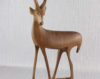 Wooden Carved Tall Brown African Antelope Freestanding Ornament