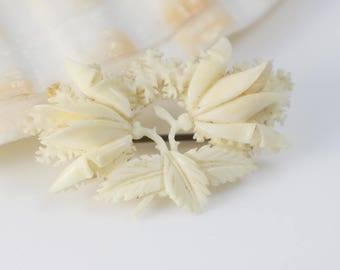 Vintage 1930s Cream Carved Celluloid Rose Flower and Leaf Brooch Pin