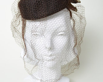 Vintage 1940s Tilt Hat 40s New York Creations Brown Studs and Veil