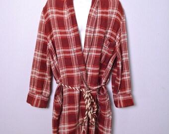 Vintage 1940s Beacon Bathrobe 1950s Men's Robe Maroon Plaid