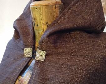 READY for SHIPPING cloak cape Brown Black Cotton Larp, Renaissance, Larp mens clothing, costume