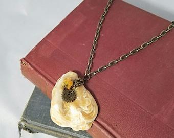 Real Seashell Charm Gear Cogs Flower Necklace OOAK