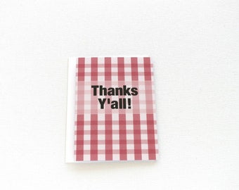 Thanks Y'All Card, Buffalo Plaid Thank You Card, Buffalo Check Thank You Note, Gingham Appreciation Card, Picnic Party Thank You Card - 142C