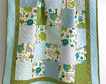 Baby Boy Patchwork Quilt Zoo Animals Blue Teal Green