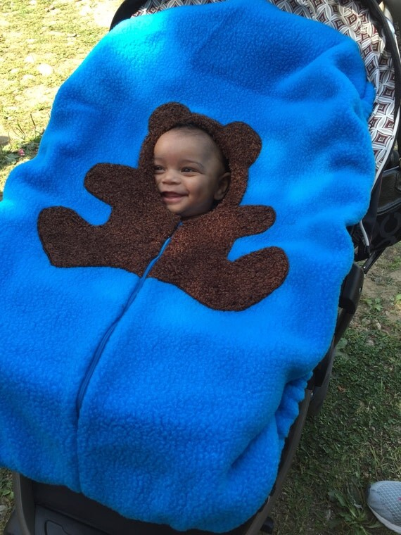 Blue Bear Infant Car Seat Cover, Baby Carseat Cover up to 40lb seat... Brown Bear on medium Blue, SMOOTH Texture Baby Car Seat Cover