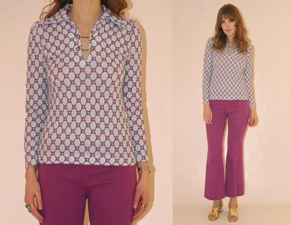 Vtg 60s Psych Bubblegum Pop Glam Shirt