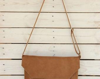 Vegan Leather Crossbody bag, Crossbody messenger bag purse, Brown messenger bag, Vegan messenger bag, Womens messenger bag