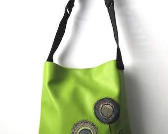 Lime Green PVC Appliqued Tote Bag TFB004
