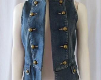 Vest Denim double breasted retro military style high fashion small AMI designer