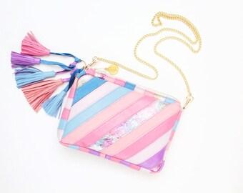 Small shoulder bag. Natural leather purse. Stripe statement purse. Crossbody bag. Geometric bag. Tassel purse. Multicolor bag /MINI RAINBOW