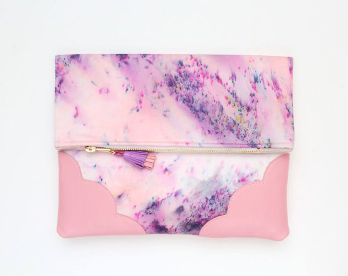 DELIGHT 26 /Leather folded clutch purse-leather bag-dyed cotton bag-everyday purse-pink coral violet purple-handcolored bag- Ready to Ship