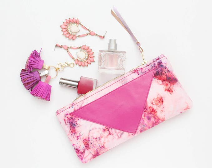 Reserved for Jyoti/Cotton pouch-natural leather pouch-hand colored-tie dye-red pink white-make up bag-cosmetic purse-bag organizer/FLARE 114