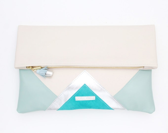 CARRIER 4 / Large clutch bag-leather purse-oversized metallic bag-blue mint nude leather purse-silver geometric statement clutch