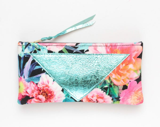 FLARE 144 /Cotton pouch-natural leather pouch-zipper pouch-floral print-make up bag-multicolor pouch-floral fabric-teal pink-Ready to Ship
