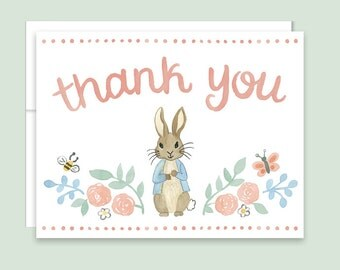 Peter Rabbit Thank You Notes - Rabbit Thank You Cards, Bunny Thank You Cards, Beatrix Potter, Spring Thank You Card, Baby Shower Thank You