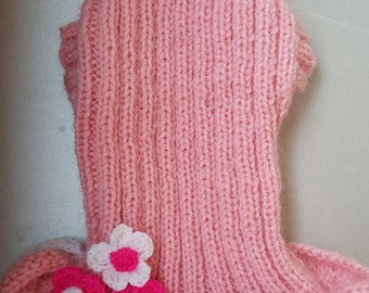 Pink knitted dress for dogs-Chihuahua Dress-Small-Dog Costume-Dog Clothes Size S