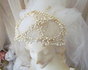 Vintage Wax Blossom Tulle Bridal Veil
