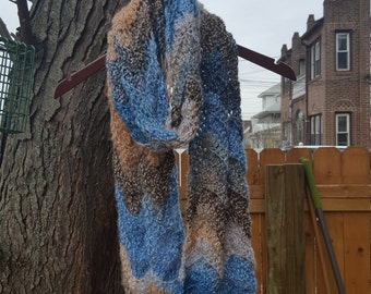 Shades of Blue and brown Ripple Scarf