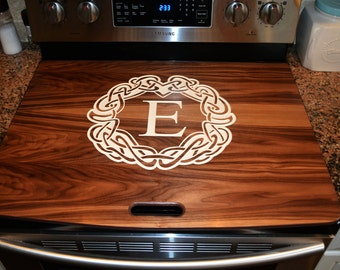 Walnut, Cherry or Oak Stove Top Cover- Range Topper Engraved