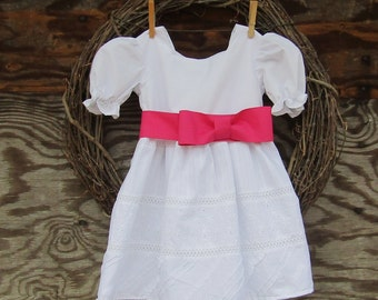 Girls White Dress, Flower Girl Dress, Girls Pink Dress, Christening Dress