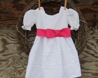 Girls White Dress, Flower Girl Dress, Girls Pink Dress, Christening Dress