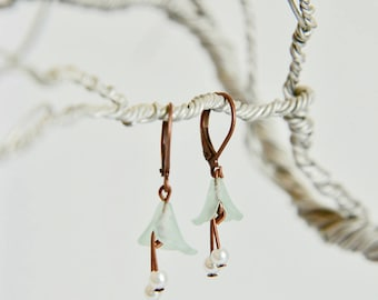 Small Blue Lucite Lily Brass Earrings