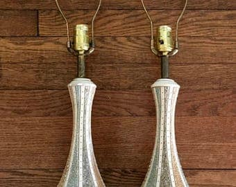 Pair of Mid Century Table Lamps, Plaster, 26 inches tall, Beautiful and Contemporary, Unique