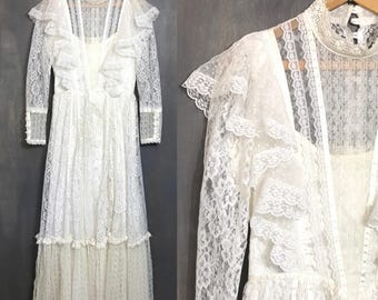 Vintage Gunne Sax Wedding Dress Ivory 60s 70s Hippie Wedding Dress White Lace Dress Boho Wedding Dress Country Dress Victorian Prairie B1