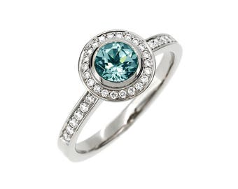 Sky blue topaz engagement ring, halo ring, diamond engagement ring, white gold, light blue ring, blue topaz, diamond halo, unique engagement