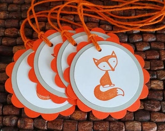 Fox Baby Shower Cupcake toppers- Fox Birthday Party Cupcake toppers set of 10 --Fox Favor Tags