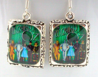 Wizard of Oz Earrings Jewelry Movie Dorothy Judy Garland Toto Silver Square 3D Dimensional Green