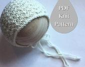PDF Knit Pattern #0025 The Dilian Knit Bonnet, Newborn, Knit PDF Pattern, Tutorial, Knit Pattern, Beginner, Easy,Instruction,Newborn