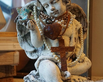 Angel cherub blue bird statue French Santos inspired handmade crown adorned angelic figure shabby cottage chic home decor Anita Spero Design