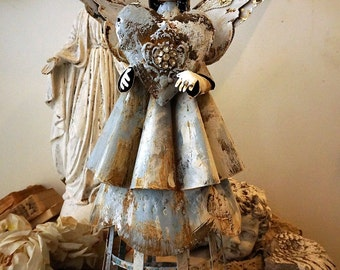 Distressed angel statue art sculpture French Santos metal angelic rusty blue white shabby cottage chic figure base decor anita spero design