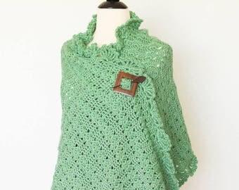 Green Shawl Crochet Scarf Wrap Soft Prayer Shawl, Wedding Shawl, Bridal Shawl, Accessories, Womens Gift, Womens Fashion, Christmas Gift
