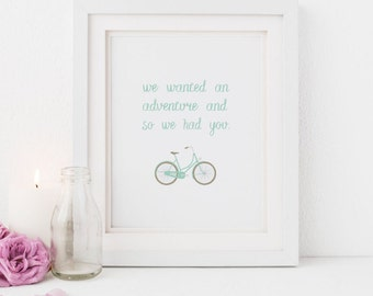 Baby Adventure Nursery Art, On an Adventure, Adventurers, Bicycle Print, Illustrated Faith, Baby Shower gift, Digital Download, printable