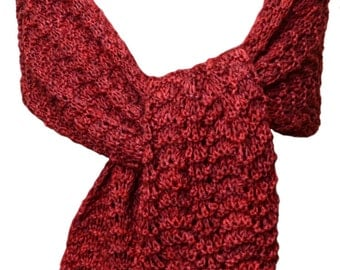 Hand Knit Scarf or Wrap - Red Pagewood Farms Feather and Fan Wool