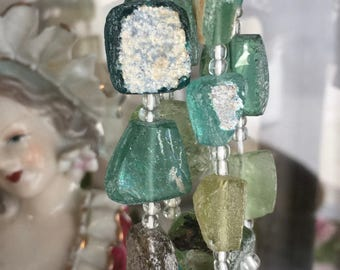 roman glass beads green aqua square nuggets center drilled lengthwise ancient recycled, lot of 6 pcs
