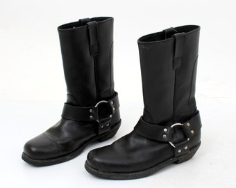 Vintage Black Leather Motorcycle Boots Size 36