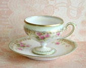 Antique RS Prussia Child Sized Pedestal Tea Cup and Saucer / Demitasse / Roses China